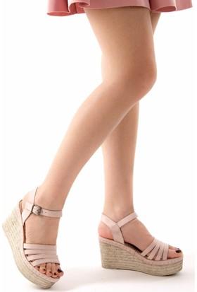 Fox Shoes Pudra Kadın Dolgu Topuklu Sandalet D583196102