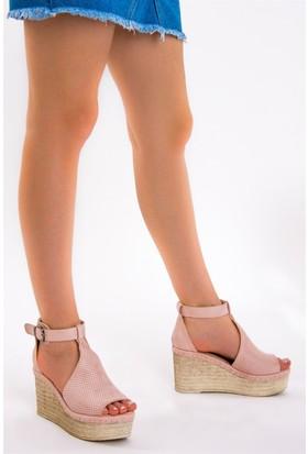 Fox Shoes Pudra Kadın Dolgu Topuklu Sandalet D583197702