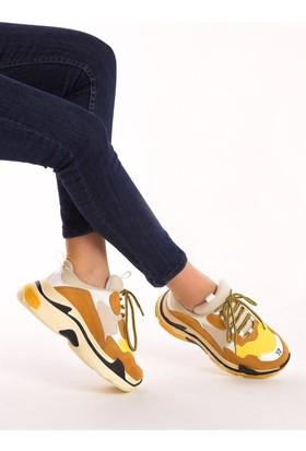 Fox Shoes Hardal Beyaz Sarı Kadın Sneakers D592410102