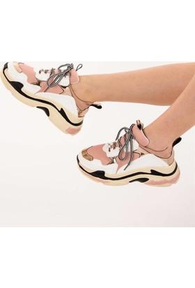 Fox Shoes Beyaz Bronz Pudra Kadın Sneakers D592410109