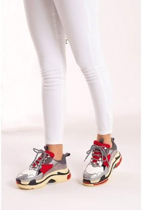 Fox Shoes Gümüş Siyah Beyaz Kadın Sneakers D592410109