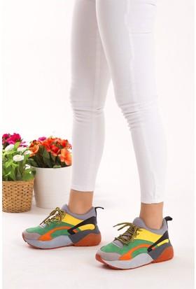 Fox Shoes Turuncu Gri Yeşil Kadın Sneakers D592415002