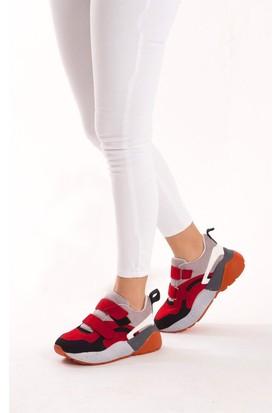 Fox Shoes Siyah Kırmızı Gri Kadın Sneakers D592416002