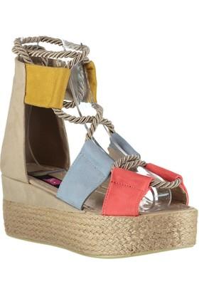 Fox Shoes MaviHardalNar Çiçeği Kadın Dolgu Topuklu Sandalet D602055002
