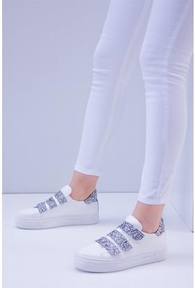 Fox Shoes Beyaz Gümüş Kadın Sneakers D615010209