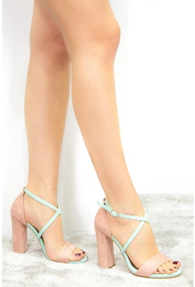 Fox Shoes Pudra Su Yeşili Kadın Topuklu Ayakkabı D654010702