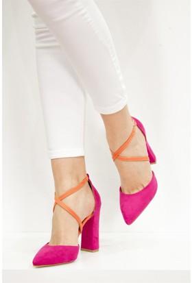Fox Shoes Fuşya Turuncu Kadın Topuklu Ayakkabı D654054702