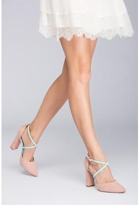 Fox Shoes PudraSu Yeşili Kadın Topuklu Ayakkabı D654054702