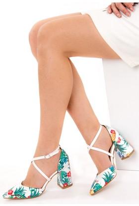 Fox Shoes BeyazYeşil Kadın Topuklu Ayakkabı D654054809