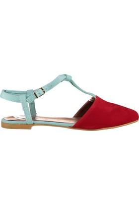 Fox Shoes Kırmızı Su Yeşili Kadın Babet D726046702