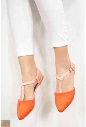 Fox Shoes Turuncu Pembe Kadın Babet D726046702