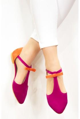 Fox Shoes Fuşya Turuncu Kadın Babet D726461702