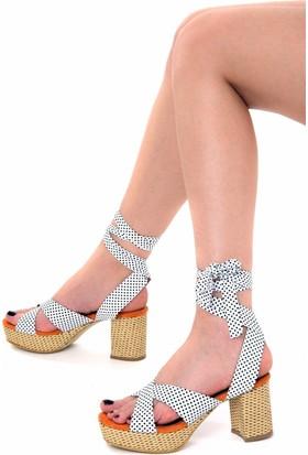 Fox Shoes TuruncuBeyaz Kadın Topuklu Sandalet D758296002