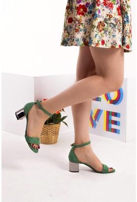 Fox Shoes Yeşil Platin Kadın Topuklu Sandalet B922631002