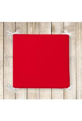 Realhomes Kırmızı Renkli Dekoratif Kare Sandalye Minderi 40x40cm Fermuarlı