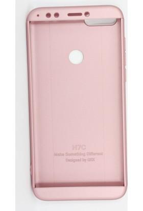 Case 4U Huawei Y7 2018 Kılıf 360 Derece Korumalı Tam Kapatan Koruyucu Kılıf - Rose Gold