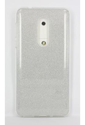Case 4U Nokia 5 Kılıf Simli Silikon Sert Arka Kapak - Shining - Gümüş Gri
