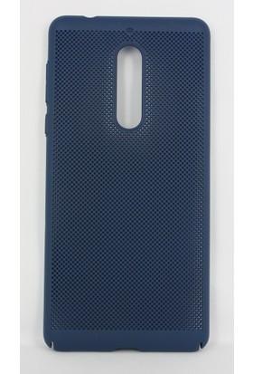 Case 4U Nokia 5 Kılıf İnce Delikli Sert Arka Kapak - Rubber - Lacivert