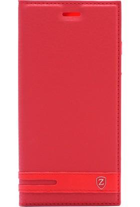 Case 4U Samsung Galaxy A6 Plus 2018 Kapaklı Kılıf Gizli Mıknatıslı Kırmızı