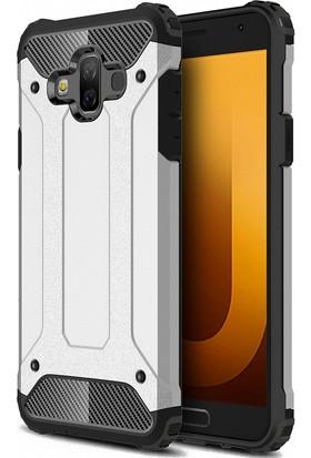 Case 4U Samsung Galaxy J7 Duo Kılıf Çift Katmanlı Tank Armor Koruyucu Kapak - Gümüş Gri