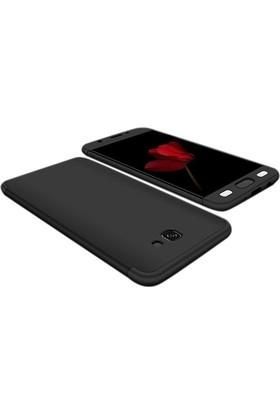 Case 4U Samsung Galaxy j7 Prime Kılıf 360 Derece Korumalı Tam Kapatan Koruyucu Sert Silikon Ays Kılıf - Siyah
