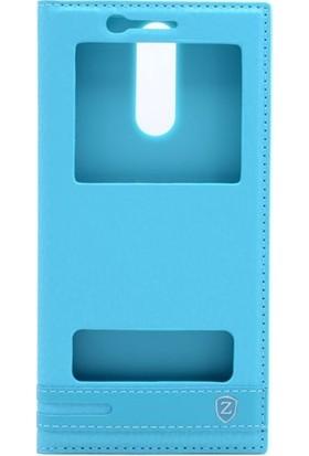 Case 4U Huawei Mate 10 Lite Kılıf Gizli Mıknatıslı Pencereli Kapaklı - Turkuaz