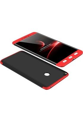 Case 4U Xiaomi Mi Max 2 Kılıf 360 Derece Korumalı Tam Kapatan Koruyucu Sert Silikon Ays Kılıf - Siyah - Kırmızı