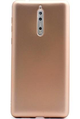 Case 4U Nokia 8 Kılıf Mat Silikon İnce Arka Kapak - Premier - Altın