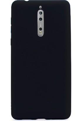 Case 4U Nokia 8 Kılıf Mat Silikon İnce Arka Kapak - Premier - Siyah