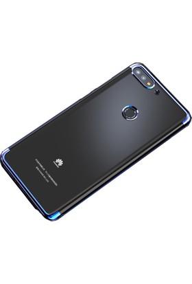 Case 4U Huawei Y7 2018 Kılıf Silikon Arka Kapak - Glitter - Mavi