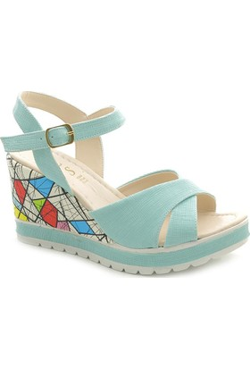 Nes Colorfull 002 Dolgu Topuk Kadın Sandalet