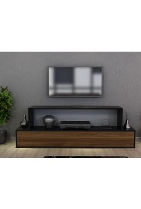 Givayo Ağça Tv Ünitesi 150 cm Ceviz Siyah