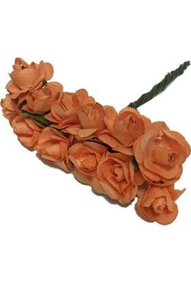 Çiçek Kağıt Yapay Çiçek Gül Küçük Boy Turuncu 1,2 cm* 1,2 cm 1 Dal