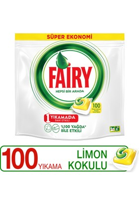 Fairy Hepsi Bir Arada Bulaşık Makinesi Deterjanı Kapsülü Limon Kokulu 100 Yıkama