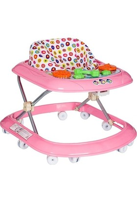 Prakdo 3 Kademeli Oyuncaklı Bebek Yürüteç Pembe