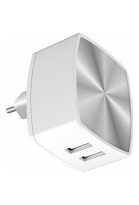 iXtech 2-USB Akıllı Hızlı Şarj Cihazı IXHC001 Beyaz