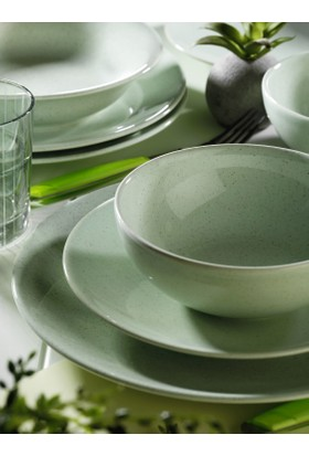 Kütahya Porselen NC Harlek Granül Yeşil 24 Parça Yemek Takımı HR24Y2148806