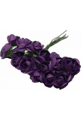 Çiçek Kağıt Yapay Çiçek Gül Orta Boy Mor 2 cm * 2 cm 12 Dal = 144 adet