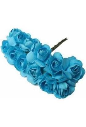 Çiçek Kağıt Yapay Çiçek Gül Orta Boy Mavi 2 cm * 2 cm 12 Dal = 144 adet