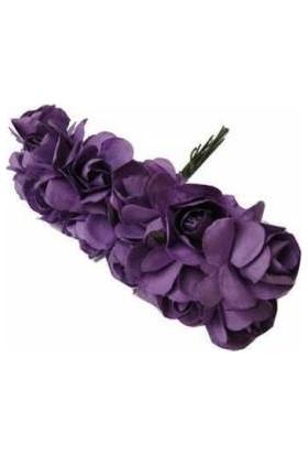 Çiçek Kağıt Yapay Çiçek Gül Orta Boy Lila 2 cm * 2 cm 12 Dal = 144 adet
