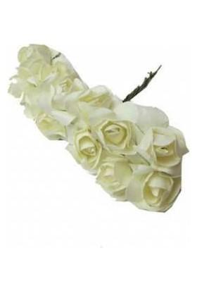 Çiçek Kağıt Yapay Çiçek Gül Orta Boy Krem 2 cm * 2 cm 12 Dal = 144 adet