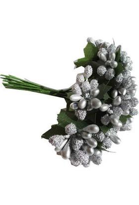 Çiçek Yapay Tomurcuk Çiçek Gümüş 2 cm* 2 cm 12 Dal= 144 Adet