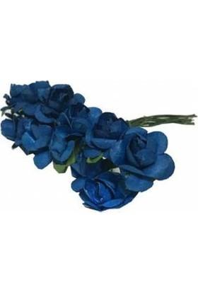 Çiçek Kağıt Yapay Çiçek Gül Orta Boy Lacivert 2 cm* 2 cm 1 Dal