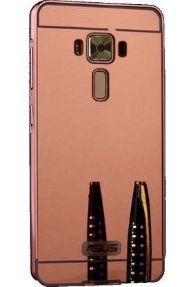 Microcase Asus Zenfone 3 ZE552KL Ayna Kapak Metal Bumper Kılıf + Tempered Cam