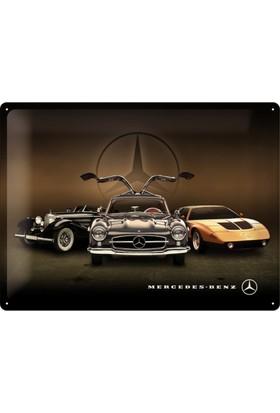 Nostalgic Art Mercedes Benz 3 Cars Metal Pano