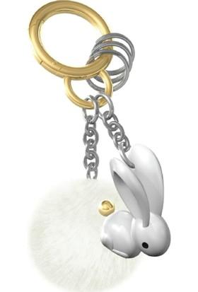Saygan Peluşlu Tavşan Anahtarlık - Beyaz-Gümüş
