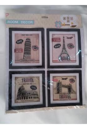 Room Dekor Eiffel Kulesi Pisa Kulesi Stickers