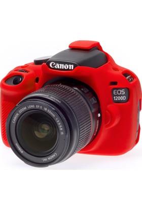 Easycover Canon 1200D Silikon Kılıf + Ekran Koruyucu (Kırmızı)