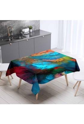 Else Renkli Kuş Tüylü Desenli 3D Dekoratif Mutfak Masa Örtüsü - 140 x 200 Cm
