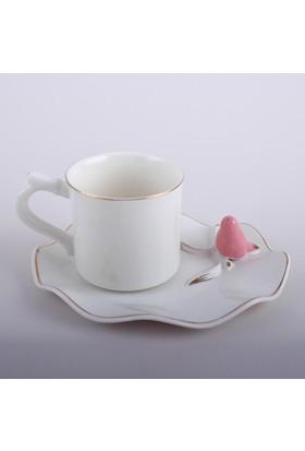 Arow Kuş Motifli Porselen Kahve Fincan Takımı